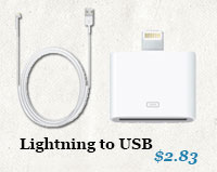 Lightning cable and adapters for Apple iPhone 5